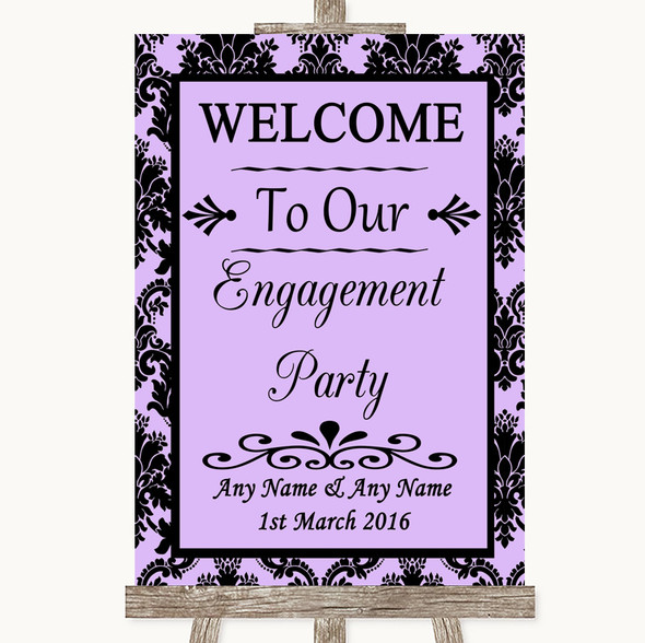 Lilac Damask Welcome To Our Engagement Party Personalised Wedding Sign