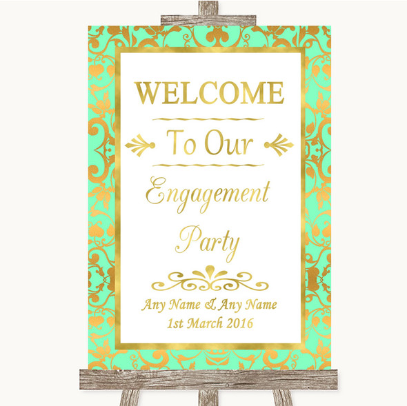 Mint Green & Gold Welcome To Our Engagement Party Personalised Wedding Sign