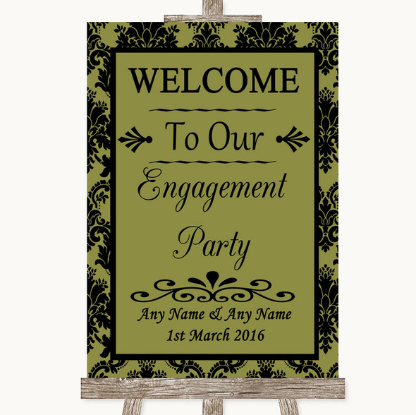 Olive Green Damask Welcome To Our Engagement Party Personalised Wedding Sign