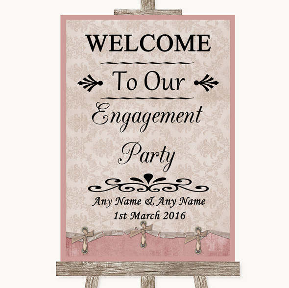 Pink Shabby Chic Welcome To Our Engagement Party Personalised Wedding Sign