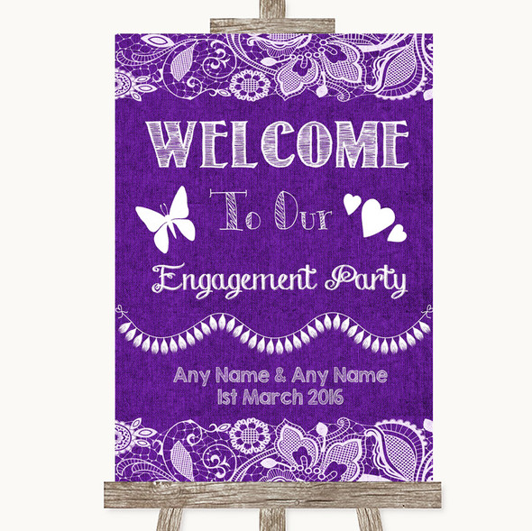 Purple Burlap & Lace Welcome To Our Engagement Party Personalised Wedding Sign