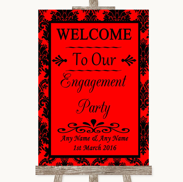 Red Damask Welcome To Our Engagement Party Personalised Wedding Sign