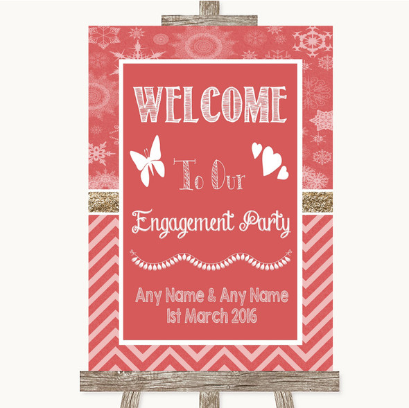 Red Winter Welcome To Our Engagement Party Personalised Wedding Sign