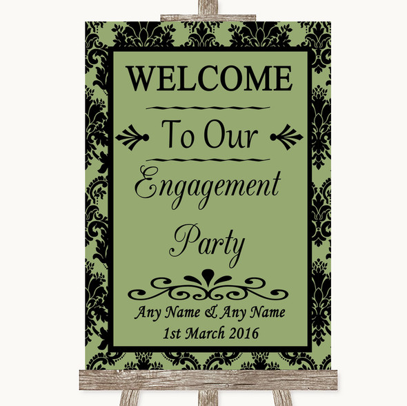 Sage Green Damask Welcome To Our Engagement Party Personalised Wedding Sign