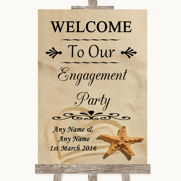 Sandy Beach Welcome To Our Engagement Party Personalised Wedding Sign