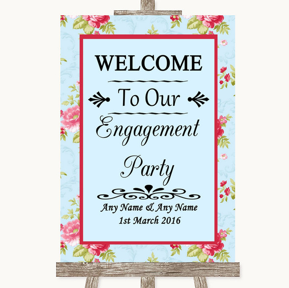 Shabby Chic Floral Welcome To Our Engagement Party Personalised Wedding Sign
