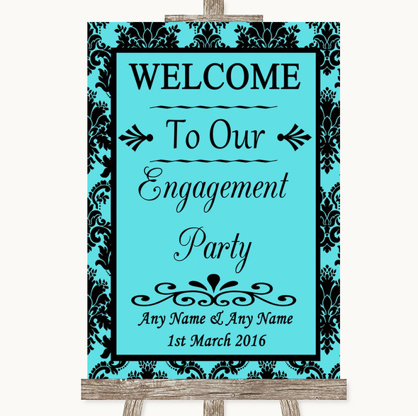 Tiffany Blue Damask Welcome To Our Engagement Party Personalised Wedding Sign
