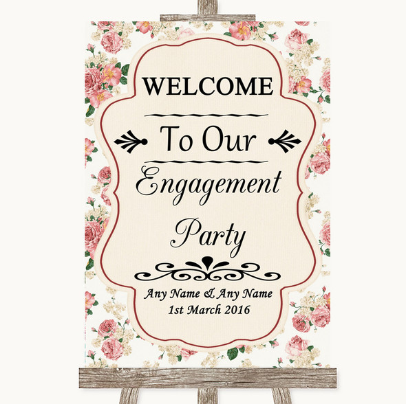 Vintage Roses Welcome To Our Engagement Party Personalised Wedding Sign