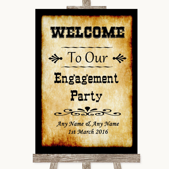 Western Welcome To Our Engagement Party Personalised Wedding Sign