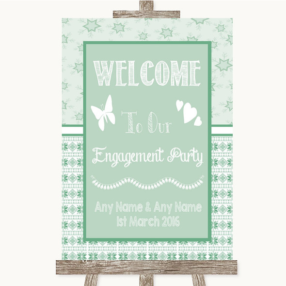 Winter Green Welcome To Our Engagement Party Personalised Wedding Sign
