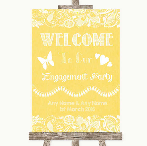 Yellow Burlap & Lace Welcome To Our Engagement Party Personalised Wedding Sign