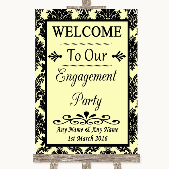 Yellow Damask Welcome To Our Engagement Party Personalised Wedding Sign