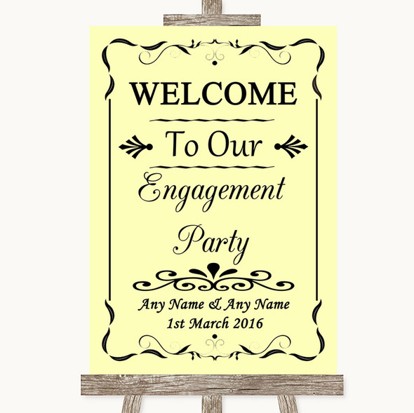 Yellow Welcome To Our Engagement Party Personalised Wedding Sign