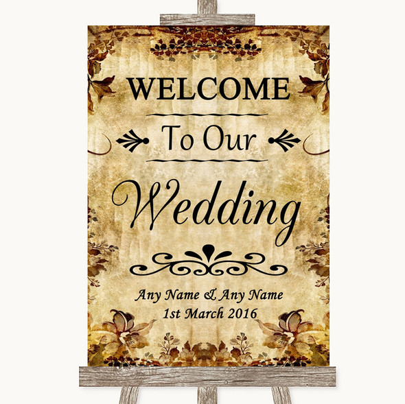 Autumn Vintage Welcome To Our Wedding Personalised Wedding Sign