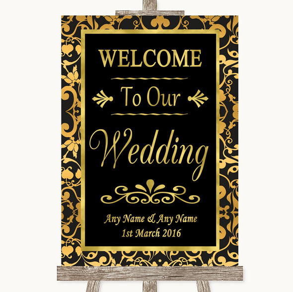 Black & Gold Damask Welcome To Our Wedding Personalised Wedding Sign