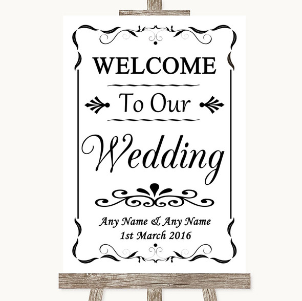 Black & White Welcome To Our Wedding Personalised Wedding Sign