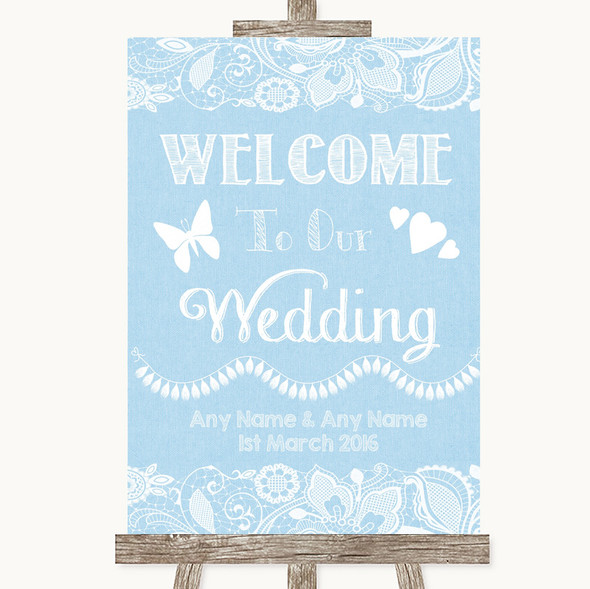 Blue Burlap & Lace Welcome To Our Wedding Personalised Wedding Sign