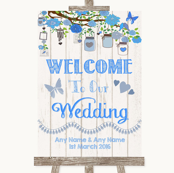 Blue Rustic Wood Welcome To Our Wedding Personalised Wedding Sign