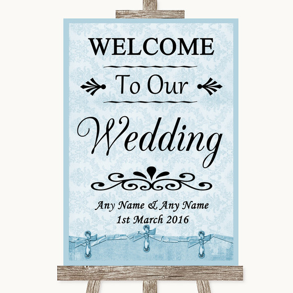 Blue Shabby Chic Welcome To Our Wedding Personalised Wedding Sign