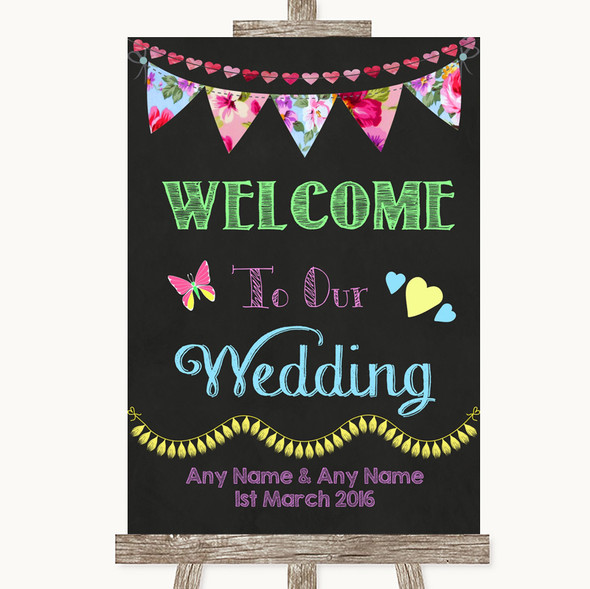 Bright Bunting Chalk Welcome To Our Wedding Personalised Wedding Sign