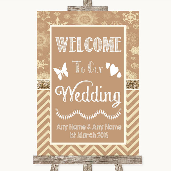 Brown Winter Welcome To Our Wedding Personalised Wedding Sign
