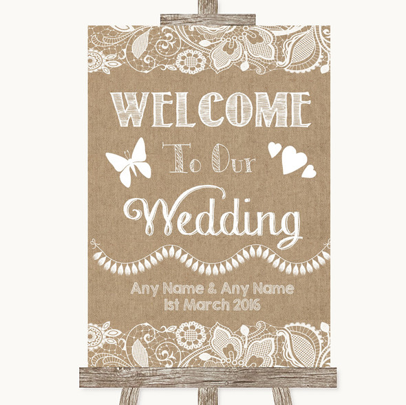 Burlap & Lace Welcome To Our Wedding Personalised Wedding Sign