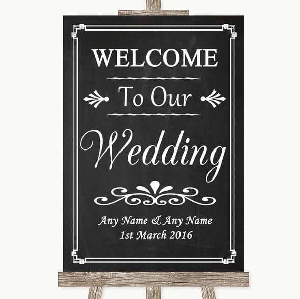 Chalk Style Welcome To Our Wedding Personalised Wedding Sign
