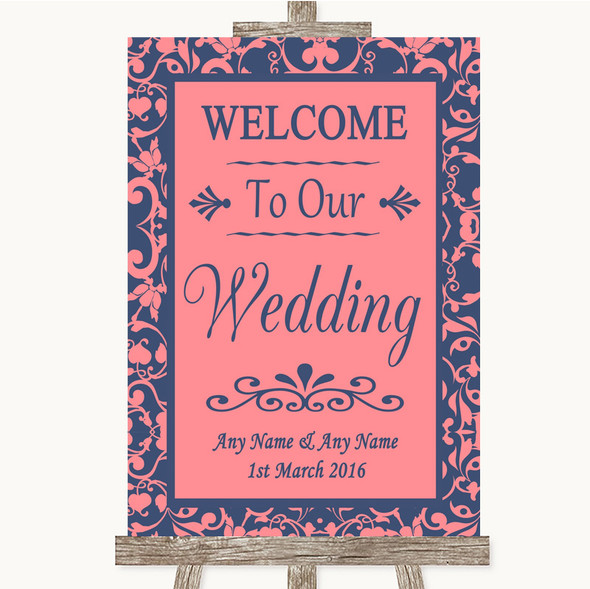 Coral Pink & Blue Welcome To Our Wedding Personalised Wedding Sign
