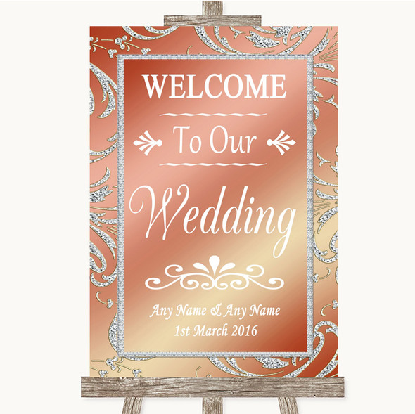 Coral Pink Welcome To Our Wedding Personalised Wedding Sign