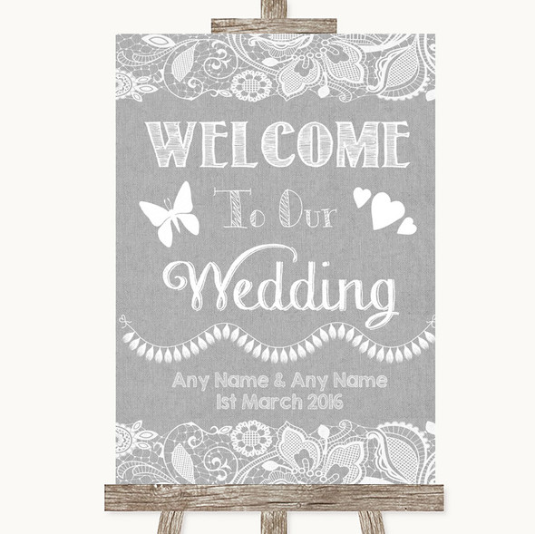 Grey Burlap & Lace Welcome To Our Wedding Personalised Wedding Sign