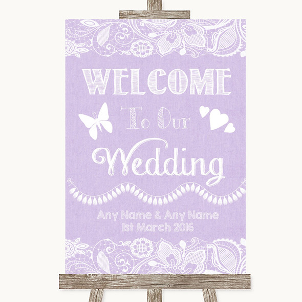 Lilac Burlap & Lace Welcome To Our Wedding Personalised Wedding Sign