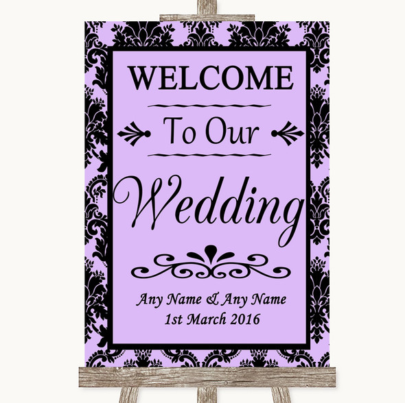 Lilac Damask Welcome To Our Wedding Personalised Wedding Sign
