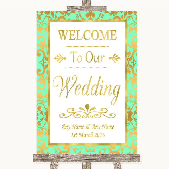 Mint Green & Gold Welcome To Our Wedding Personalised Wedding Sign