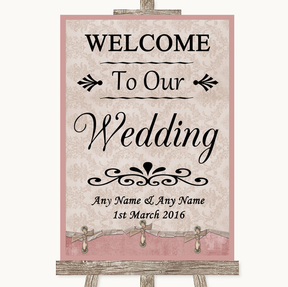 Pink Shabby Chic Welcome To Our Wedding Personalised Wedding Sign