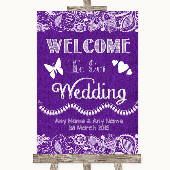 Purple Burlap & Lace Welcome To Our Wedding Personalised Wedding Sign
