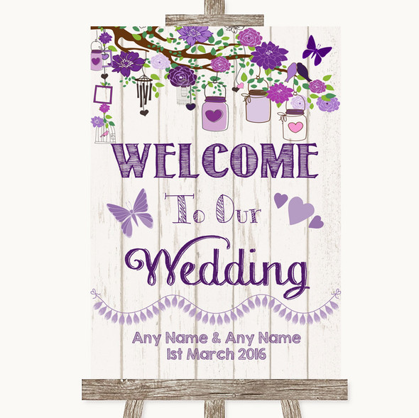 Purple Rustic Wood Welcome To Our Wedding Personalised Wedding Sign