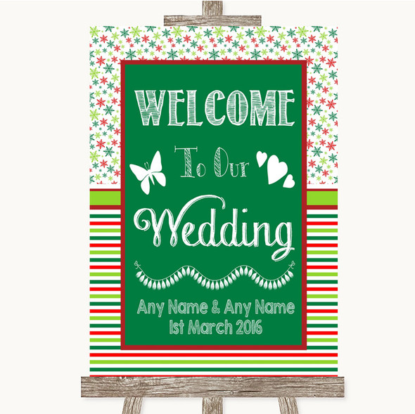 Red & Green Winter Welcome To Our Wedding Personalised Wedding Sign