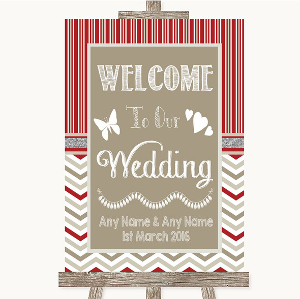 Red & Grey Winter Welcome To Our Wedding Personalised Wedding Sign