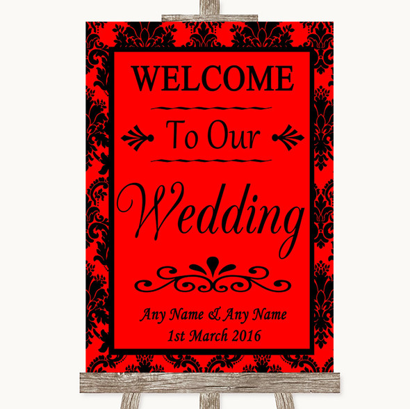 Red Damask Welcome To Our Wedding Personalised Wedding Sign