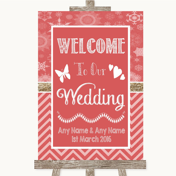 Red Winter Welcome To Our Wedding Personalised Wedding Sign