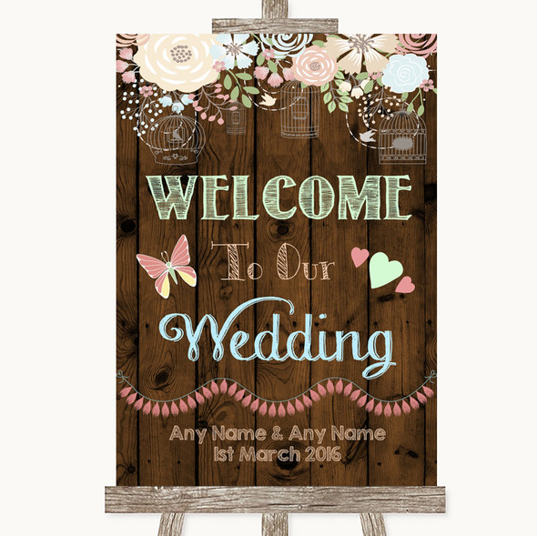 Rustic Floral Wood Welcome To Our Wedding Personalised Wedding Sign