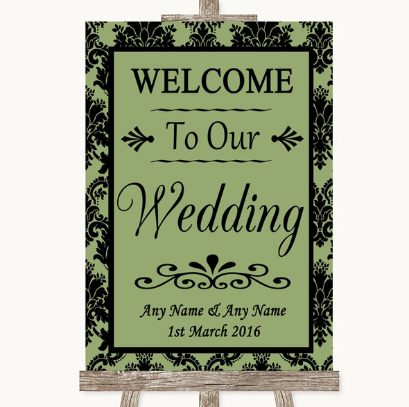 Sage Green Damask Welcome To Our Wedding Personalised Wedding Sign