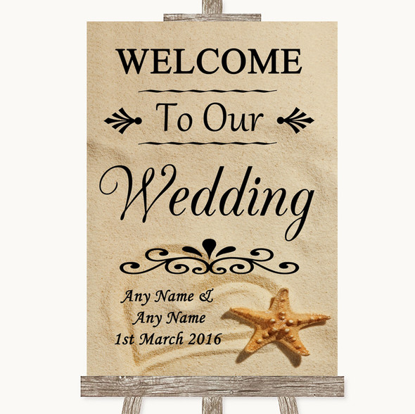 Sandy Beach Welcome To Our Wedding Personalised Wedding Sign