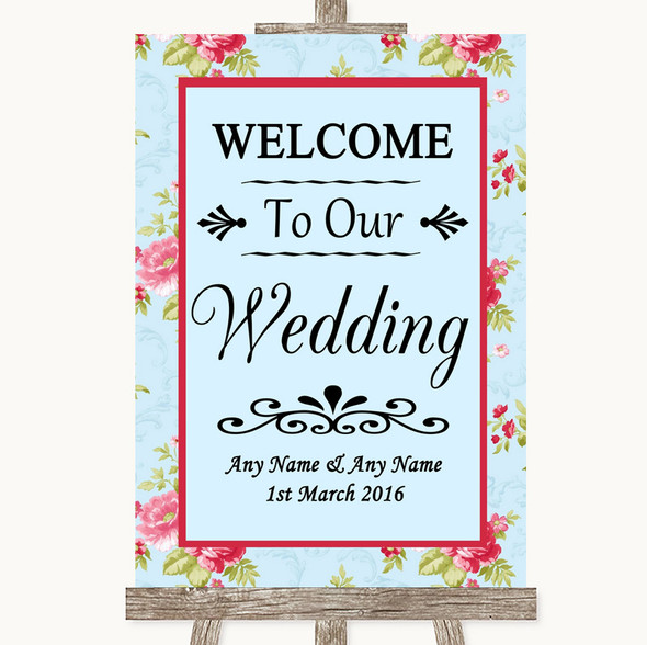 Shabby Chic Floral Welcome To Our Wedding Personalised Wedding Sign