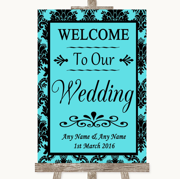 Tiffany Blue Damask Welcome To Our Wedding Personalised Wedding Sign