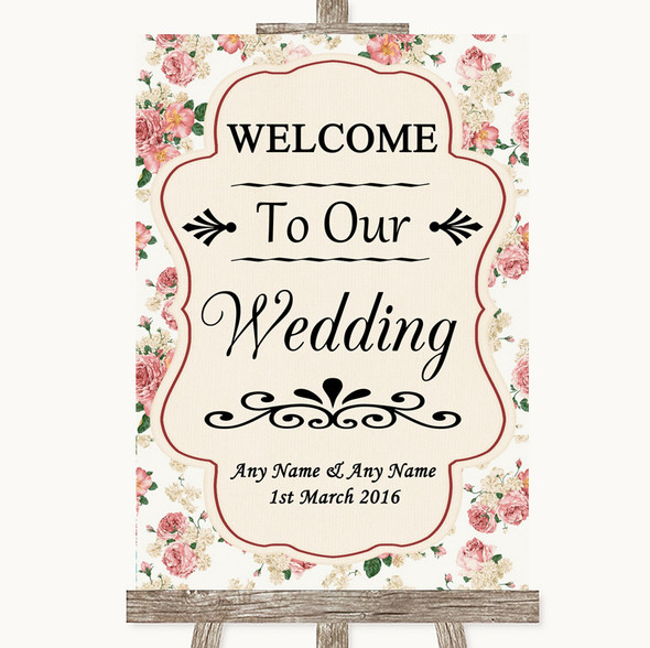 Vintage Roses Welcome To Our Wedding Personalised Wedding Sign