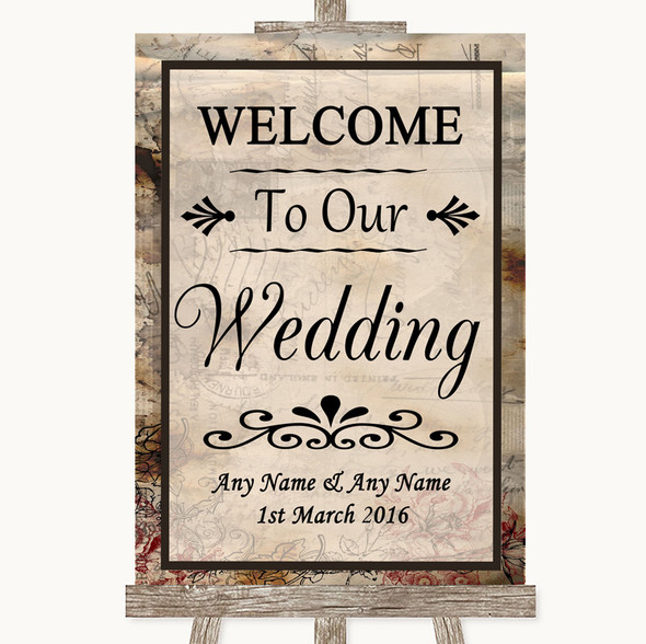 Vintage Welcome To Our Wedding Personalised Wedding Sign