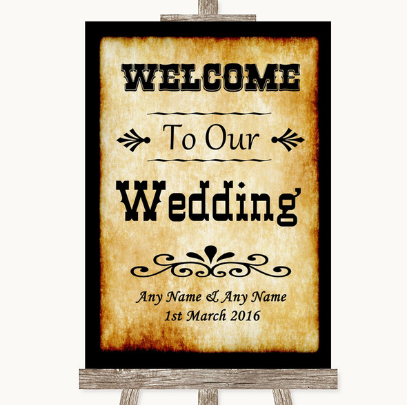 Western Welcome To Our Wedding Personalised Wedding Sign