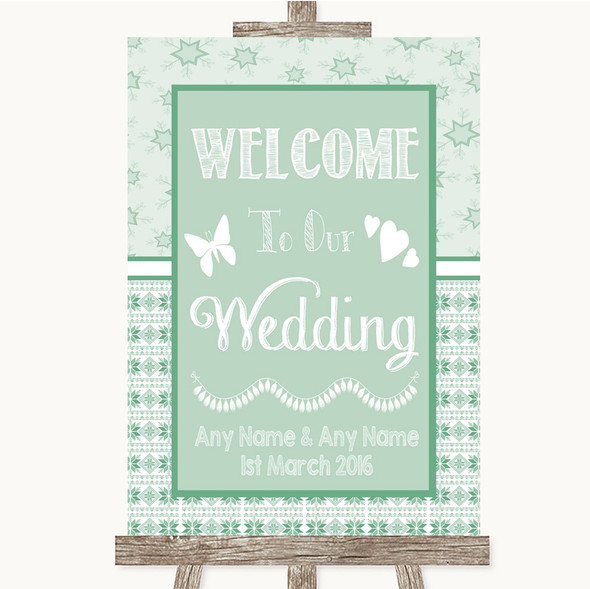 Winter Green Welcome To Our Wedding Personalised Wedding Sign