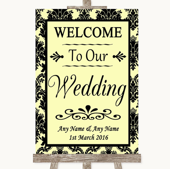 Yellow Damask Welcome To Our Wedding Personalised Wedding Sign